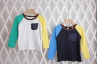 New Autumn-Spring Children's T shirt Kids Boys and Girls Color Patching Long Sleeve Tee Cotton Kids T-shirt With Front Pocket