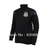 New arrival 2014 season Argentina Anthem black color Jacket, best quality, embroidery logo,Men Argentina Football Coat size:S-XL