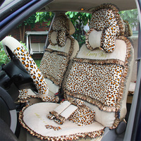 Winter plush car seat cover autumn and winter leopard print zebra print female cartoon seat cover
