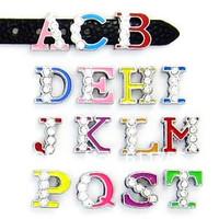 "8MM Half Rhinestone Slide Letters ""N-Z "" (10 pieces/lot) Slide Charms Fit DIY Wristband & Bracelet"