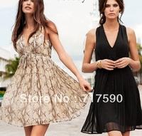 Free shoping 2014 spring summer snakeskin stria knee length sleeveless chiffon dress sexy V neck dresses beach dress 2 color