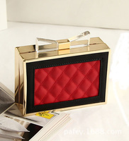 New arrival 2014 ladies color block plaid banquet evening bags,vintage clear bow knot day clutch mini shaping bag