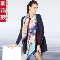 Scarf female autumn and winter fashion all-match muffler scarf cape large facecloth imitation silk scarf 90x90cm 81-100 SC0271