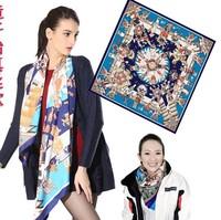 2014  90x90cm Silk Square Scarf Women Fashion Brand High Quality Cheap Imitated Silk Satin Scarves Polyester Shawl Hijab SC0271