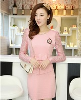 2014 Hot! Spring new Korean women's fashion lace stitching Slim was thin Puff bottoming long-sleeved dress Dress Women Dresses