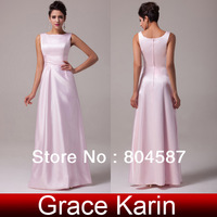 Free Shipping!Elegant Grace Karin A-line Scoop Floor-length Satin Bridesmaid Wedding Party Formal Prom Maxi Dress Pink CL3438