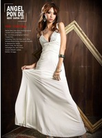 2014 Hot!  European style sexy goddess long dress after Breast gemstone cross Formal dress Dress Women Dresses