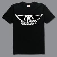 Aerosmith wingbig logo metal rock and roll band  top quality 100% cotton black casual loose printing men's t-shirt tee dress