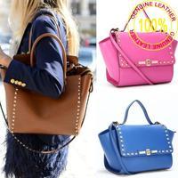2013 New Fahion Valentin style Handbag women totes Rivet bags,100% genuine leather bag Cross body shoulder bag free shipping