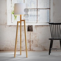Chinese style ofhead loft wood tripod floor lamp