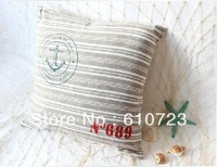 hot sales new cotton and linen stripe printed anchor household cloth art sofa back cushion pillow cushion for leaning on of iron