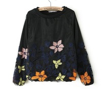 2014 Spring European-American Style Quality Organza Flower Chiffon Blouse Women's Fashion Shirts