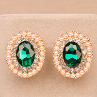 Free Shipping Luxury Emerald Green Crystal Stud Earrings 18K Gold Plated Pearl Earring Fashion Jewelry For Women Wholesale JJ18