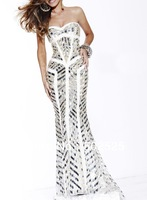 Real Photos White Color Beading Handwork Special Occasion Mermaid Sequin Dress New 2014 OL102332