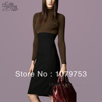 Direct free shipping 2013 new winter Couture autumn and winter fashion elegant pure wool sweater dress code mosaic Tuxedo