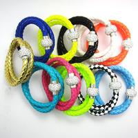 12Pcs/Lot Wholesale Hot PU Leather Bracelet & Two Laps Disco Ball Crystal steampunk Magnetic Clasp Bracelet Free Shipping 38CM