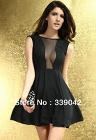 High Quality,New Fashion Patchwork Half Perspective Slim Knee-Length Dress,Women's O-Neck Sleeveless  Dress,Free Shipping