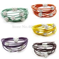 5Pcs/Lot Wholesale Leather Crystal Shamballa 5 Beads/Ball Magnet Bracelet 5Colors Free Shipping