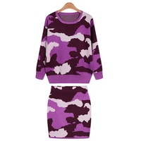In the spring of 14 new women's European and American leisure camouflage hit color sweater two piece set hip long sleeved dress