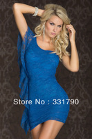 Free Shipping 541398 Women's Sexy blue double layer lace satin women night wear dress top qulity club dress hot sell