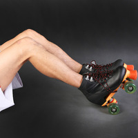 Black double pattern skates roller skates skating shoes flash wheel Men