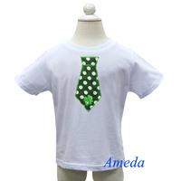 St Patricks Day Green Polka Dots Tie Boys White Short Sleeves Tee 1-7Y