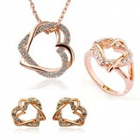 Hot , new coming !  femenine  jewelry, imitation platinum plated crystal jewelry set necklace + earrings +ring G015
