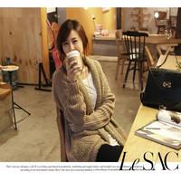 2014 Korean style new fashion women's line in coarse loose circle velvet long sweater jacket