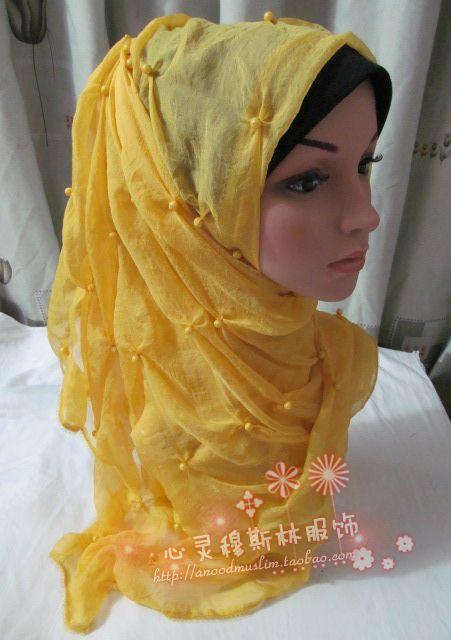 Hot-selling tc226 silk handmade bubble beads muslim bandanas hijab silk scarf 8(China (Mainland))