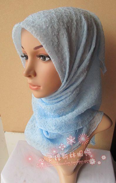 Plain chiffon crumple 105cm large facecloth muslim bandanas female silk scarf tf107(China (Mainland))