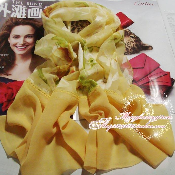 2013 silk scarf female quinquagenarian all-match decoration long silk scarf yellow green(China (Mainland))