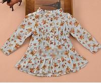 2014 Spring brand girls corduroy dress with floral printing for girl wear ,brand girls dresses with 2 colors .European design