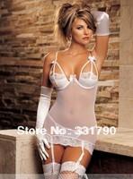 DHL  Free Shipping 100 PCS LOT  Plus size Women Sexy Clothing Set XXL White Mesh Underwear G-string Jumpsuit Hot Sell