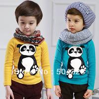 Free Shipping Hot 5pcs/lot Kids boys  Fashion PANDA T shirts kids boys fashion clothes Tee spring Autumn long sleeve clothing