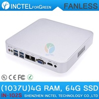 Factory price mini pc windows 7 or linux with Celeron C1037U 1.8Ghz with 2 RJ45 USB 3.0 TF SD Card 4G RAM 64G SSD full alluminum