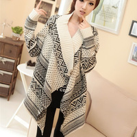 2014 new  European and American retro flower thick coat thick long sleeve sweater shawl cape