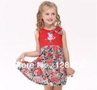 2014 Summer Baby Girls Peppa Pig Dress Girls Sleeveless Dresses Peppa Pig Red Dress Kids Dresses Big Bow Hot New Fashion