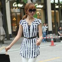 2014 spring and summer shirt female medium-long slim stripe shirt short-sleeve chiffon shirt summer plus size