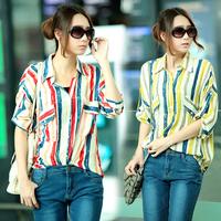 Summer fashion multicolour stripe loose pocket long-sleeve women's spirals casual shirt female shirt