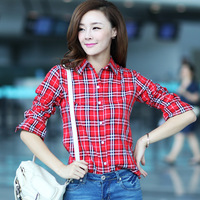 2013 summer fashion plaid 100% cotton thin shirt female plus size clothing long-sleeve slim casual shirt