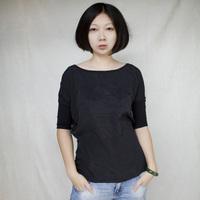 Fashion big o-neck black 5 short-sleeve loose three-dimensional letter decoration t-shirt female basic 115