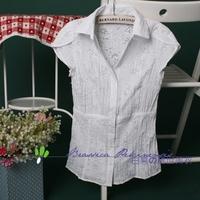 Vintage vintage turn-down collar V-neck white flower short-sleeve puff sleeve 100% cotton white shirt female 115