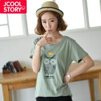 Fashion 2014 spring owl loose 100% cotton short-sleeve T-shirt female women's