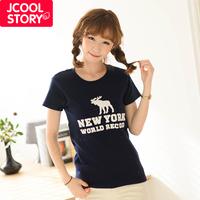 Fashion 2013 onta embroidery slim thickening basic shirt short-sleeve T-shirt female