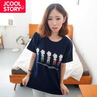 Fashion 2014 spring cartoon print loose 100% cotton short-sleeve T-shirt female women's