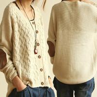 2014 new fashion Korean style  of the cross- thread cuff knit cardigan sweater coat