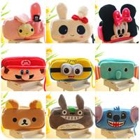 Free shipping South Korean cute cartoon animal pencil-box bag multi-function students creative rabbit plush toy pencil bags 2pc