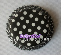Wholesale products 100pcs polka dots black & white paper cake decorating Cupcake Liners fondant tools Baby Shower FREE SHIPPING