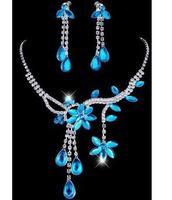 A004 Fashion Alloy Rhinestone Necklace Earring Set,Rhinestone Wedding Jewelry Set Free Shipping 50D
