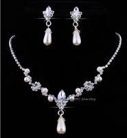 A007 Fashion Alloy Rhinestone Necklace Earring Set,Rhinestone Wedding Jewelry Set Free Shipping B5